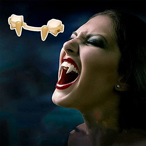 Sdoveb Vampire Fangs, Retractable Halloween Fangs Holiday Party Dance Props Halloween Vampire Fangs Fake Denture Costume for Halloween Cosplay (White)