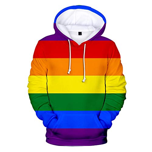Hooded Casual 3D Printing Hoodies,Multi kleuren Regenboog Strepen Lange mouwen Ademende Unisex Sweatshirts Verstelbare Trekkoord Truien met Kangoeroe Pocket