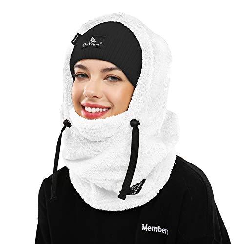 Shy Velvet Balaclava Wind-Resistant Winter Face Mask,Fleece Cold Weather Ski Mask for Men and Women White