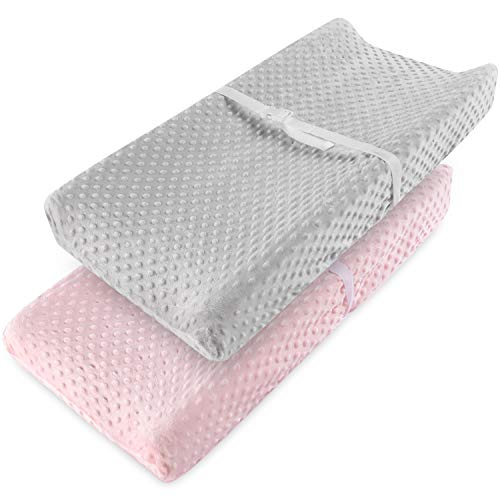 Vextronic Changing Pad Cover Ultra Soft Minky Dots Plush Changing Table Covers Breathable Changing Table Sheets Wipeable Diaper Changing Pad Cover for Baby Boys Girls (2 Pack)