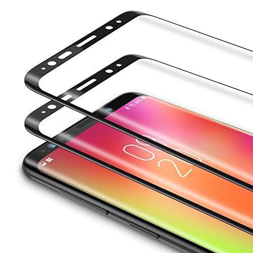 Bewahly Vetro Temperato Samsung Galaxy S8 Plus [2 Pezzi], 3D Curvo Copertura Completa Pellicola Protettiva in Vetro Temperato per Samsung Galaxy S8 Plus [9H Durezza, Alta Definizione] - Nero