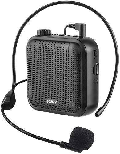 JCWY Amplificatore Vocale Portatile, Sistema PA Ricaricabile da 12 W (1200 mAh) Mini Altoparlante Con Microfono Auricolare Cablato per Insegnanti Allenatore Guida Turistica Aula