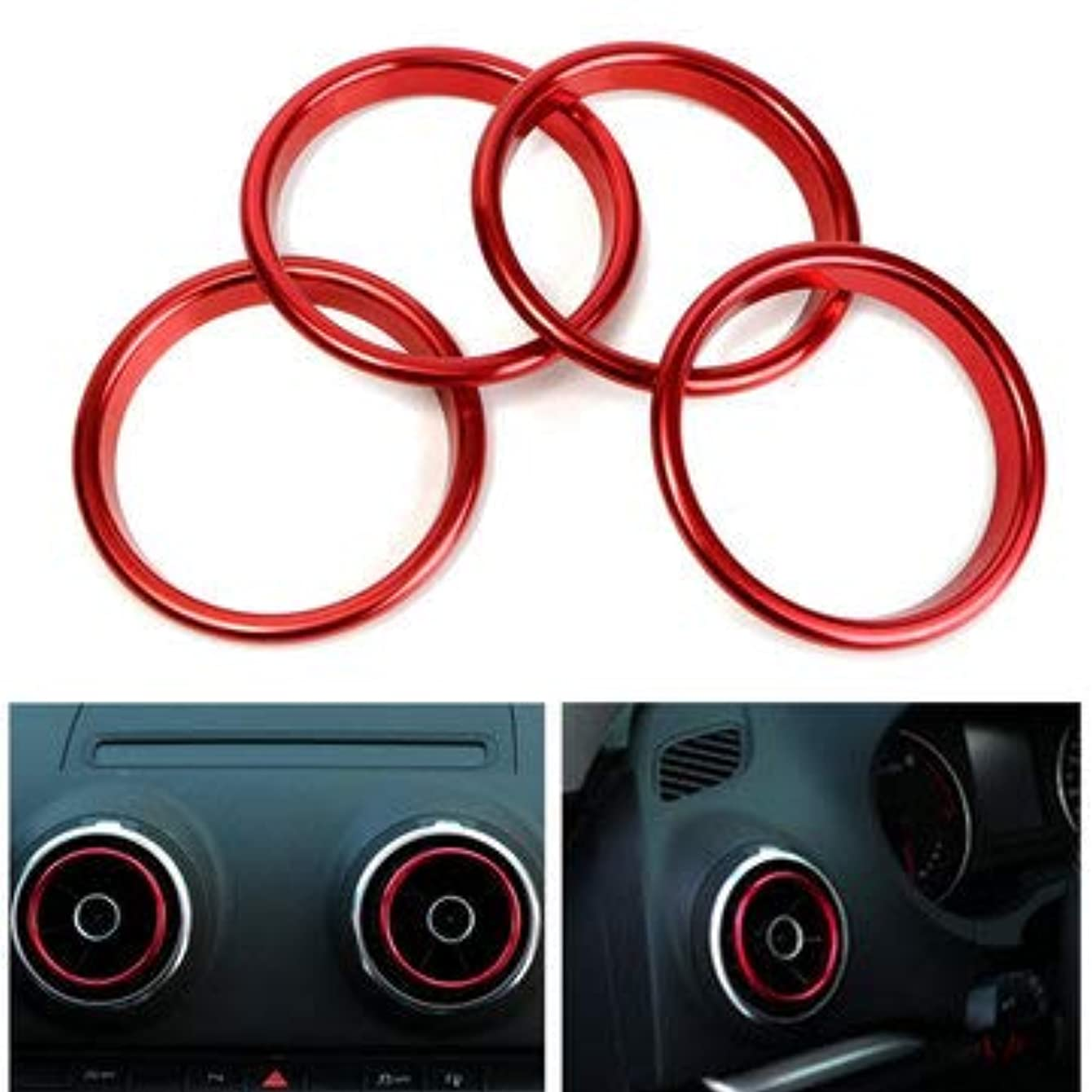 4pcs Air Conditioner Outlet Decorative Rings Bright Circle Red For A3 - Interior Accessories Car Interior Mouldings