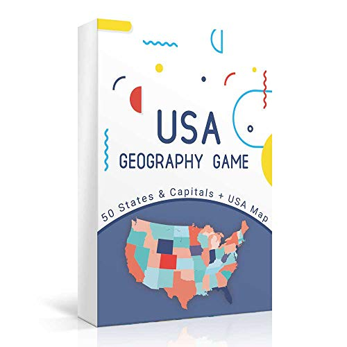 USA Geography Educational Board Game w/ Map for Kids & Family - Updated - 50 States & Capitals Cards
