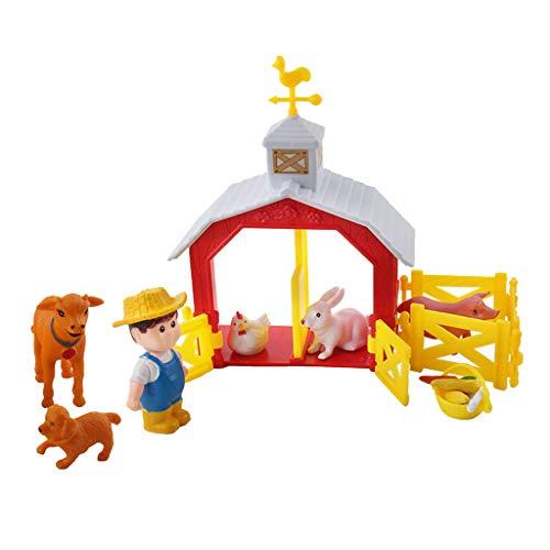 perfeclan DIY Miniatur Bauernhaus Tiere Zaun Kinder Kinder Lernszene Spielzeug - S2