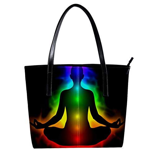 Seven Chakra Women Women's PU Leather Fashion Handbag Top-Handle Shoulder Bags Totes Purses
