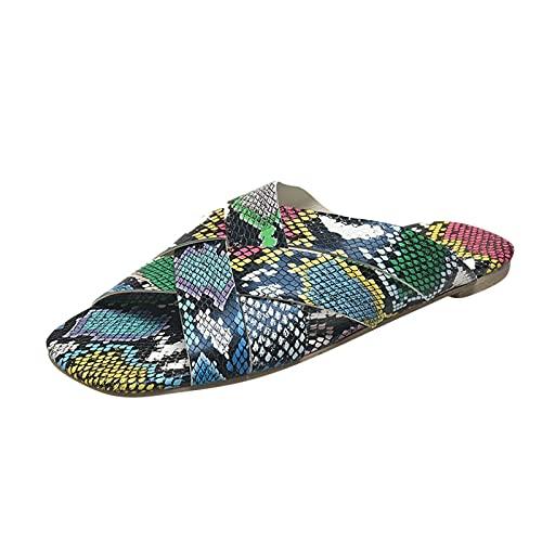 Luckycat Sandalias Planas Mujer Verano 2021 Moda Sandalias Y Zapatillas de Playa con Correa Cruzada con Estampado de Serpiente de Gran TamañO