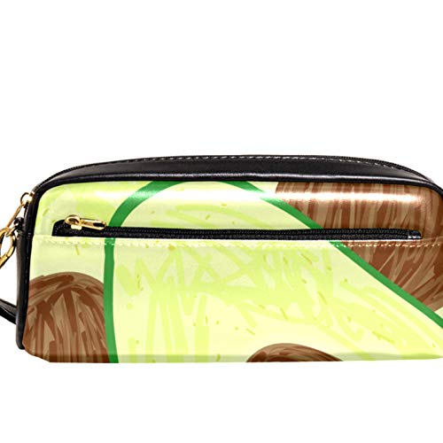 Yitian Avocado Slice Pattern Pencil Case with Compartments Stationery Pouch Pen and Pencil Organiser Make-up Case for Children Girls for School