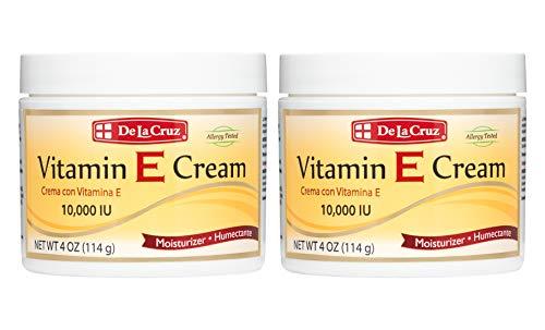 De La Cruz Vitamin E Cream Moisturizer for Face and Neck - Moisturizing Anti-Aging Skin Care for All Skin Types - Made in USA (2 Pack)