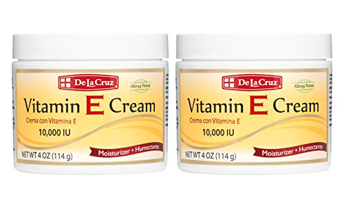 De La Cruz Vitamin E Cream Moisturizer for Face and Neck - Moisturizing Anti-Aging Skin Care for All Skin Types - Made in USA (2 Pack)