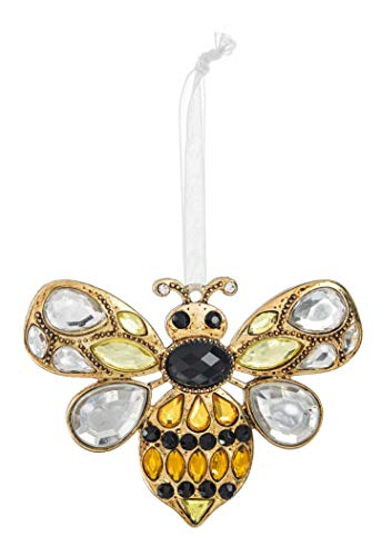Ganz Sweet Bee Sunshine Yellow 3 x 2 Acrylic and Zinc Decorative Hanging Ornament