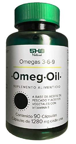 5H8 Nutrition   Omeg-Oil Omegas 3-6-9   90 Cápsulas De Gelatina Blanda, Aceite De Pescado Extra Refinado, Aceite De Linaza, Alta Concentración De DHA   Suplemento Alimenticio