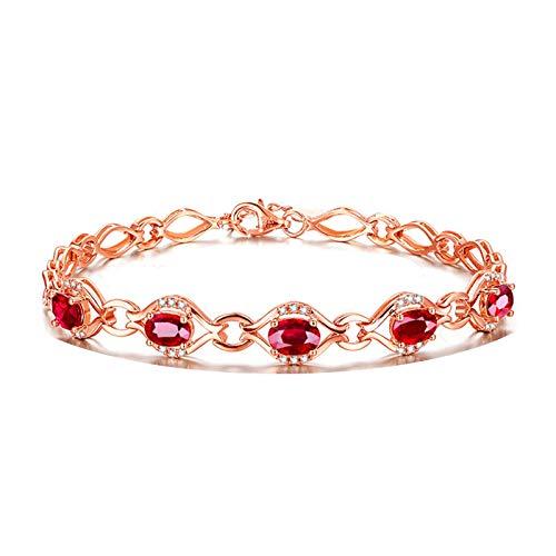 Bishilin Pulsera de Oro Rosa 750 Reales Clásico Pulseras de Encanto Rojo Rubí Diamante Pulseras para Mujer Ajuste Cómodo Forma Ovalada Joyas con Estilo Regalos para Navidad Aniversario Rojo