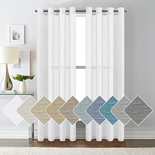 HVERSAILTEX White Linen Curtain Panels/Home Decorative Rich Natural Linen Sheer Curtains for Bedroom  2 Panels  Elegant Nickel Grommet Top  52x84  Inch