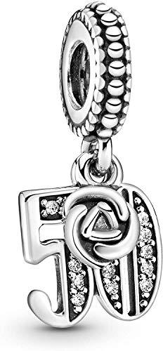 MariaFonte Bead Charm para los 50 años de plata de ley 925, compatible con las más populares marcas de pulseras y collares.