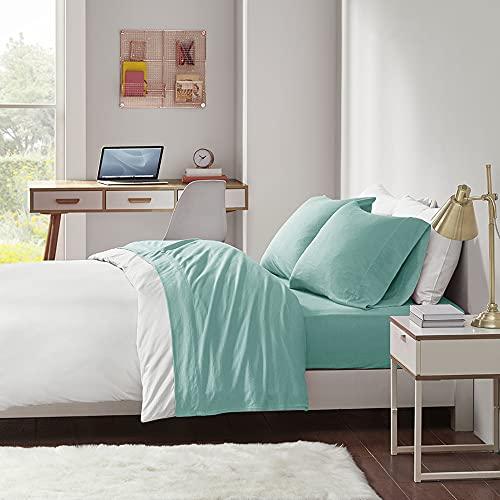 "Intelligent Design Cotton Blend Jersey Knit Wrinkle Resistant, Soft Sheets with 14"" Deep Pocket All Season, Cozy Bedding-Set, Matching Pillow Case, Queen, Aqua, 4 Piece"
