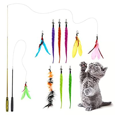 Feather Wand Cat Toy, Interactive Cat Toys Wands With Feathers, Cat Feather Toys, With Retractable Cat Teaser Wand And Feather Worm Toys With Bells, For Indoor Cat And Kitten Catcher(12 Pack)