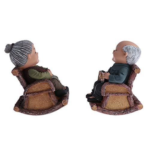 Fenteer Älteres Liebespaar Opa/Oma Statue Ornamente, täuschend Süß auf Tisch/Balkon,Als Weihnachten Geschenk - Schaukelstuhl