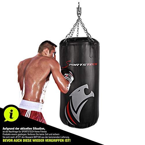 Sportstech Premium Kampfsport Boxsack mit Innovativer 5-Punkte-Stahlkette |Eigenentwickelter Haken + doppelverstärktes Boxsack-Set inkl Poster für Boxen mit Boxhandschuhen als Punchingsack Training
