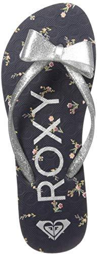 Roxy Girls' RG Lulu Flip Flop Sandal, Navy/Grey, 4 M US Big Kid