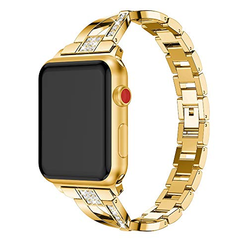 X-shaped Diamond-studded Solid Stainless Steel Wrist Strap Watch Band for Apple Watch Series 3 & 2 & 1 42mm(Black) luoshan (Color : Gold)