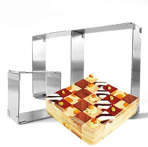 Tebery 2 Stück Backrahmen rechteckig verstellbar aus Edelstahl - Backform eckig für kleine und große Kuchen Torten und Pizza, zum Backen und Dekorieren