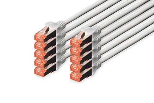DIGITUS - 10 Stück - Patch-Kabel Cat-6 - 3m - S-FTP Schirmung - Kupfer-Adern - LSZH Mantel - Netzwerk-Kabel - Grau