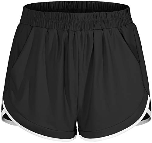 Blevonh Womens Running Shorts,Ladies High-Waisted Fashionable Fitness Athletic Short Woman Oversized Woven Outdoor Performance Short Pants with Underlining Fit Work Out in Home Black 2XL