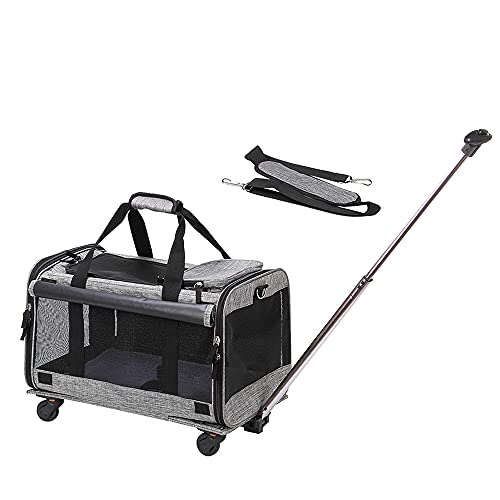 Coopeter Cat Carrier, Dog Carrier with Wheels, Pet Carrier for Pet with Telescopic Walking Handle,Easy to Fold,Grey