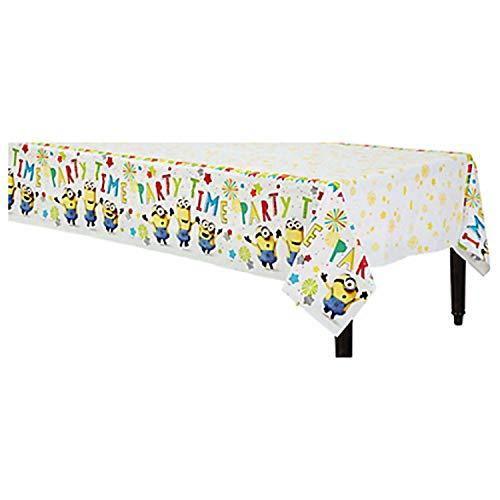 Amscan 9907316 - Tischdecke Minions Party Time, Papier, Größe 120 x 180 cm, Kindergeburtstag