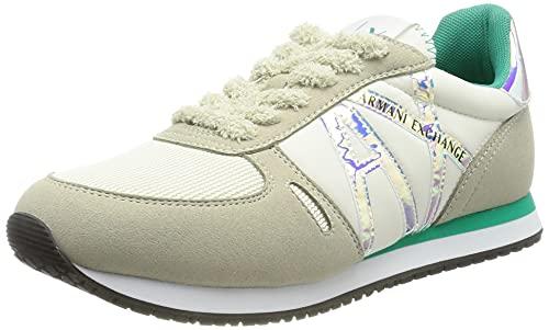 Armani Exchange Rio Retro Running, Sneaker Mujer, Off White+Emerald, 38 EU
