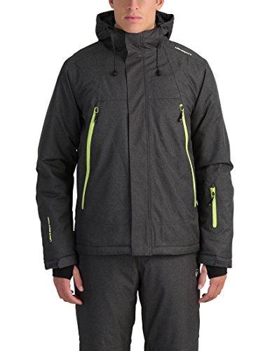 Ultrasport Mel - Giacca da sci o snowboard uomo con tecnologia Ultraflow 10.000 - Giubbotto termico per outdoor e sport invernali con cappuccio, grigio/verde, 2XL