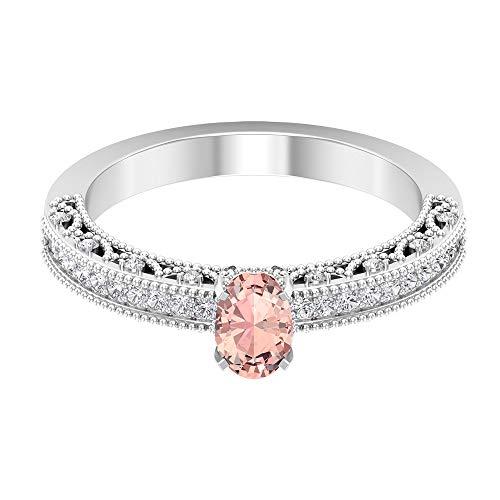 1 CT creado en laboratorio de morganita anillo solitario de compromiso con detalles de diamante (calidad AAAA), 14K Oro amarillo, Size:EU 50