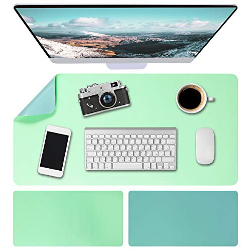"""Leather Desk Pad (31.5"""" x 15.7""""), Dual-Sided Office Desk Mat, PU Mouse Pad, Waterproof Desk Blotter Protector, Desk Writing Mat for Office/Home/Work/Cubicle (Green/Blue)"""