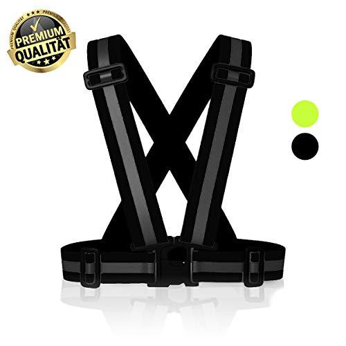 MyToolz hochwertige Sicherheitsweste für Damen und Herren - Praktische größenverstellbare Reflektorweste für das Fahrrad, Auto und Motorrad - Warnweste zum Laufen und Joggen (Schwarz, S/M/L/XL)