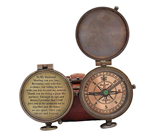 Engraved Compass, Gift for Husband,Anniversary,Wedding Gift for Him, Long Distance Boyfriend Gift, Fiance Gift I Miss You Long Distance Relationship Gift for Army Boyfriend Gift (to My Husband 5)