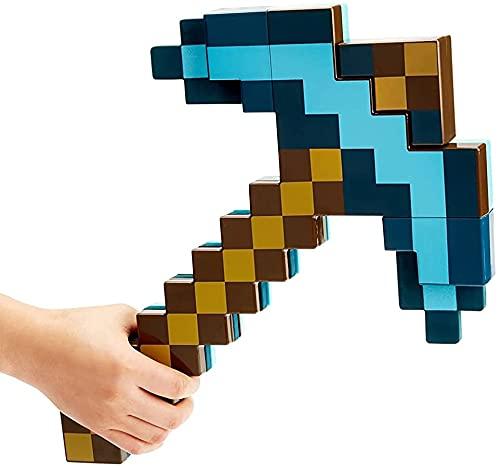 Zhiqu-NB Minecraft Blue Sword Spitzhacke, 2 in 1 Plastik-Deformationsschwert (52cm) Spitzhacke (42cm) Waffen-Requisiten, Imitation Fantasy-Spiel für Kinder, Mine-Craft-Spiel Peripherie-Spielzeug