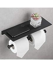 DUFU Toiletrolhouder Wandmontage Dubbel Toiletpapierhouder met Plank WC Rolhouder Zonder Boren Zelfklevend Papierrolhouder Aluminium Lijm- en Schroefinstallatie voor Badkamer (Zwart)