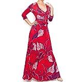 Janette Fashion Red Navy White Floral Faux Wrap Maxi Dress