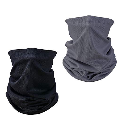 WELLXUNK Multifunktionstuch Schlauchschal,Halstuch Schlauchtuch 2 Stück,Elastisch UV-Schutz Bandana Mundschutz, Staubdicht Atmungsaktiv Halstuch Multifunktionstuch Herren Damen Loop Schal (grau)