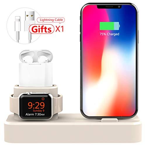 AODUKE 3 en 1 Soporte de Carga de Silicona para Apple Watch/iPhone y AirPods, estación de Carga para Apple iWatch Series 4/3/2/1 / AirPods/iPhone XS/XS Max/XR/X/8/8 Plus