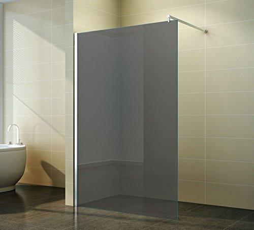 Duschabtrennung Walk in Grauglas - Schicke Duschwand freistehend aus Glas für maximale Flexibilität, Freiraum & Komfort in ihrem Badezimmer - 10mm ESG, Breite:120 cm