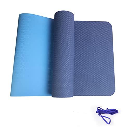FENGCHENG Esterilla de yoga clásica y simple de 6 mm de grosor, antideslizante, se puede limpiar y compacta, apta para el hogar, fitness, viajes, hombres y mujeres, azul marino, 183 x 61 x 0,6 cm