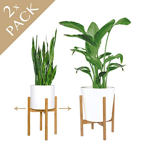 """mini + MOD Mid Century Plant Stands. Get 2 adjustable indoor plant stand/plant holder (8""""-12"""") in natural bamboo. Plant stands indoor. Used as tall plant stand or flower stand [plant pot NOT included]"""