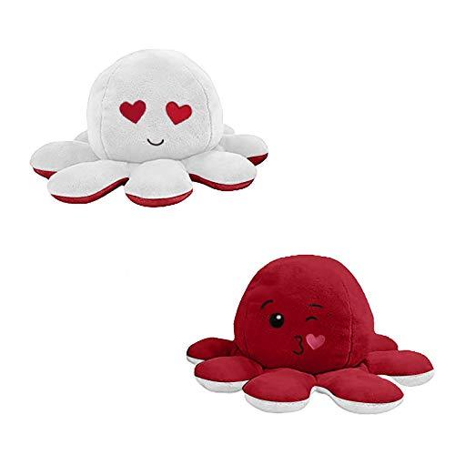 Kinderspielzeug Geschenk Plüschtiere niedlich kleine Octopus Toy Doppelseitiges Flip-Plüschtier Süße Wendepuppe Stofftierpuppe für Kinder Mädchen Jungen Freundin (Qualle 008, 1PC)