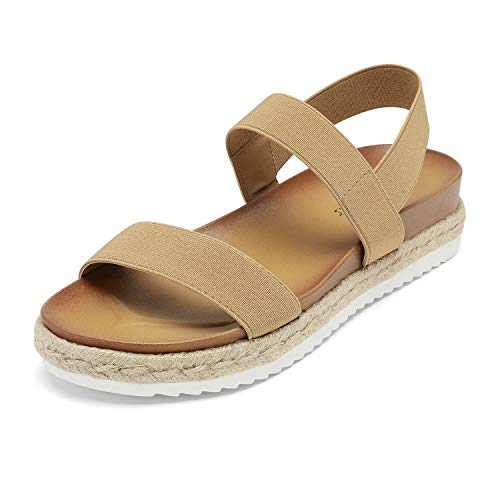 DREAM PAIRS Women's Camel Elastic Strap Espadrille Flatform Platform Sandals Size 9 M US Rosan