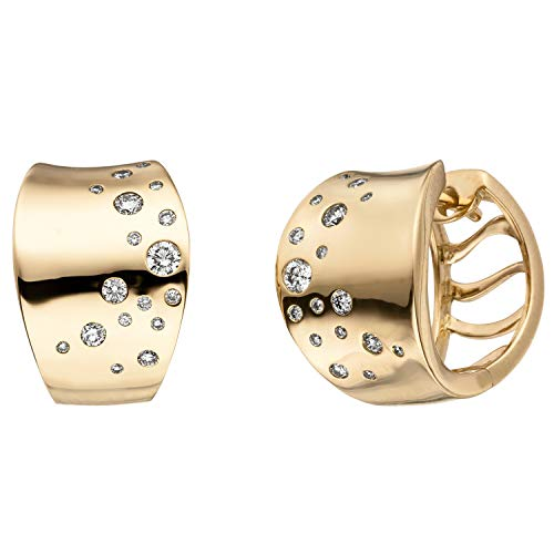 JOBO Damen Creolen 585 Gold Gelbgold 34 Diamanten Brillanten Ohrringe Goldcreolen