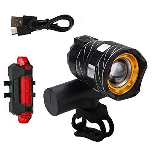 Odoukey Moto Juego de Luces LED USB Frontal Luz Trasera de la Bicicleta Recargable de aleación de Aluminio de 2 Piezas Negras a Prueba de Agua