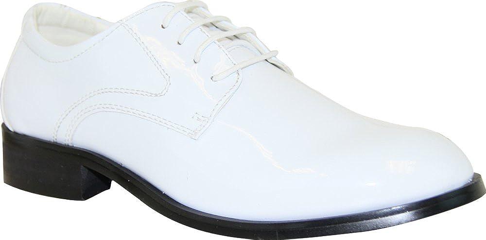 VANGELO Boy Tuxedo Shoe TAB Patent Dress Shoe Oxford Style Wrinke Free Materials White Patent 1M US Little Kid