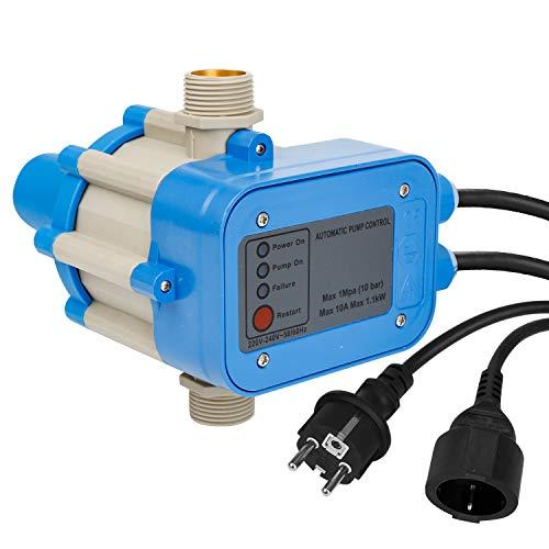 BOMT Pumpensteuerung mit Kabel,10 Bar,Pumpen Tiefbrunnen Pumpenschalter,Druckwächter mit Baranzeige,Druckschalter für Kreisel,Automatik Trockenlaufschutz mit Manometer